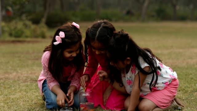 MS Girls removing fish from jar in garden / Delhi, India