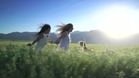 ws ts sm girls running with their dog through a field - grass点の映像素材/bロール