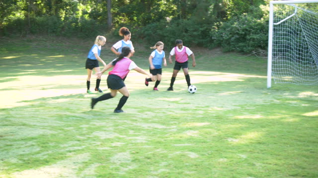 girl's soccer team practicing, playing scrimmage - 10 11 years stock videos & royalty-free footage