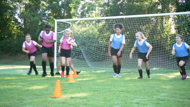 girl's soccer team practicing, running sprints - 10 11 years stock videos & royalty-free footage