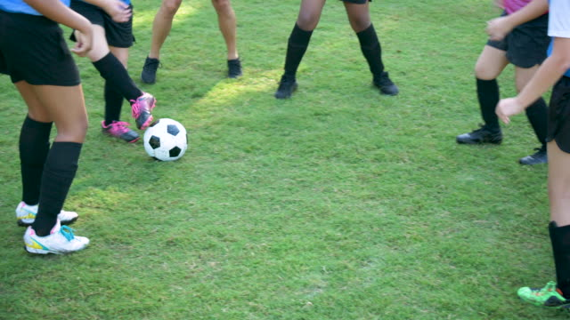 girl's soccer team practicing - soccer player stock videos & royalty-free footage