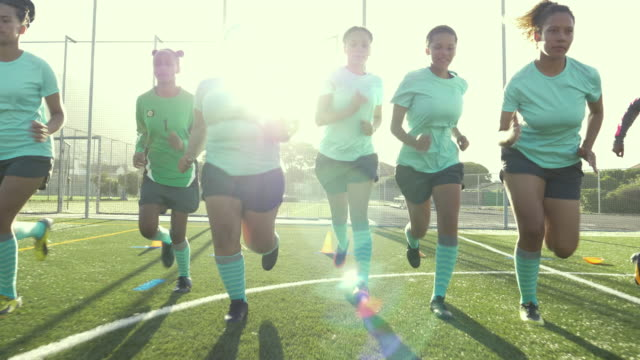 girls soccer team warming up - warm up exercise stock videos & royalty-free footage
