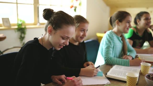 vidéos et rushes de filles étudiant ensemble sur le privé dans l'école privée - cours de mathématiques