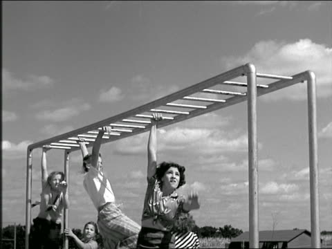 b/w 1949? girls swinging on monkey bars in playground - 1949 stock videos & royalty-free footage