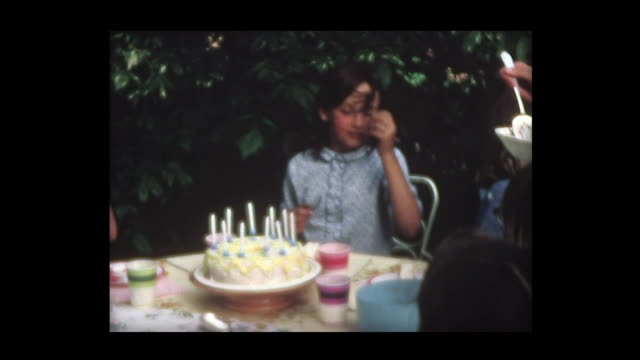 1967 girl's tenth birthday cake with friends - birthday cake stock videos & royalty-free footage