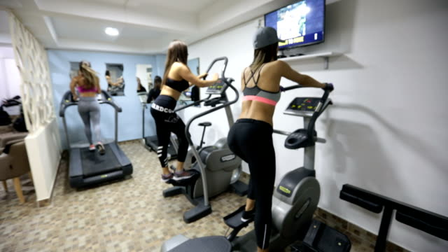 Girls training in gym