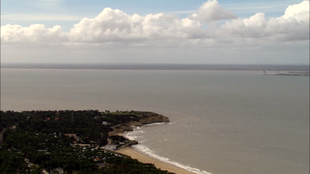 gironde coastline  - aerial view - poitou-charentes, france - gironde stock videos and b-roll footage