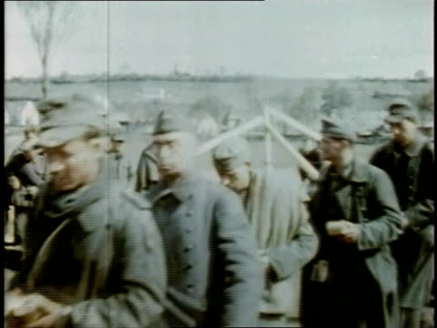 gis pulling some german pows out of line - saxony stock videos & royalty-free footage