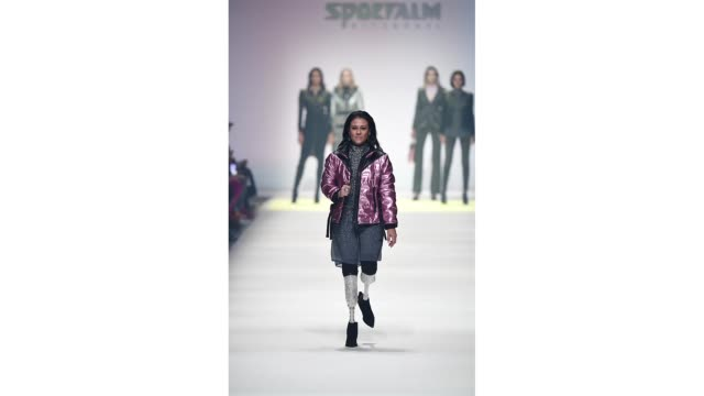 berlin germany january 15 giusy versace walks the runway at the sportalm show during berlin fashion week autumn/winter 2020 at kraftwerk mitte on... - gif stock videos and b-roll footage