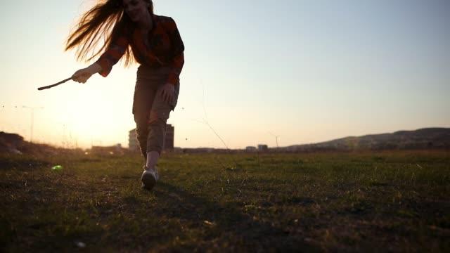 Gib mir diesen Stock! Kleiner Hund, der bei Sonnenuntergang versucht, Stock von der jungen schönen Frauenhand auf der Wiese zu fangen
