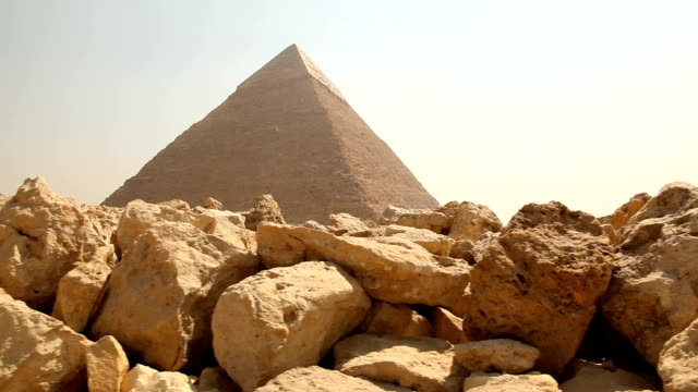 LA WS Giza Pyramid from behind rocks/ Cairo / Egypt