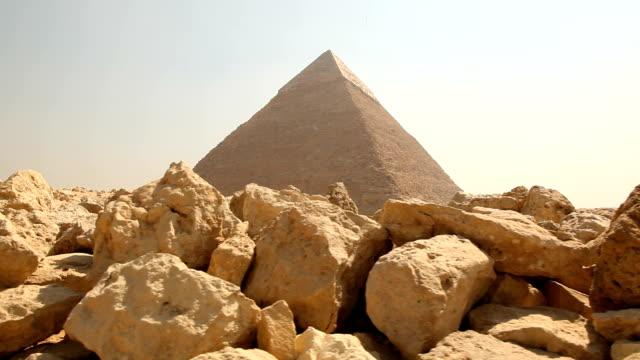 LA WS Giza Pyramid from behind rocks/ Cairo / Egypt