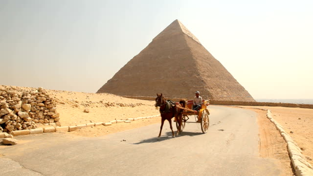 stockvideo's en b-roll-footage met ws giza pyramid with horse and cart riding in the foreground/ cairo / egypt - paardenkar