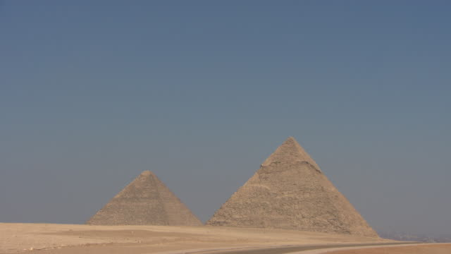 Giza pyramids with desert foreground