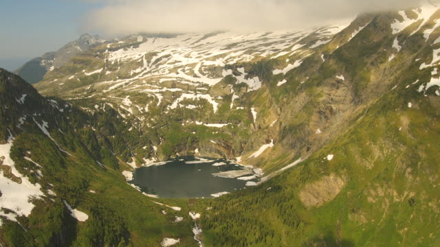 Glacial lakes fill mountain valleys in Glacier National Park.