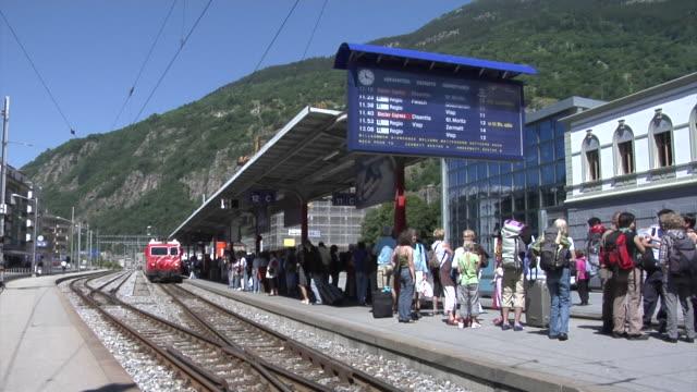 Glacier Express arrives in Brig railway station