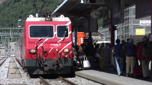 mgb glacier express in brig railway station - 1906 stock videos and b-roll footage