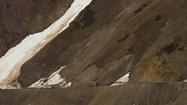 Glacier flowing on a mountain pass, Ladakh road
