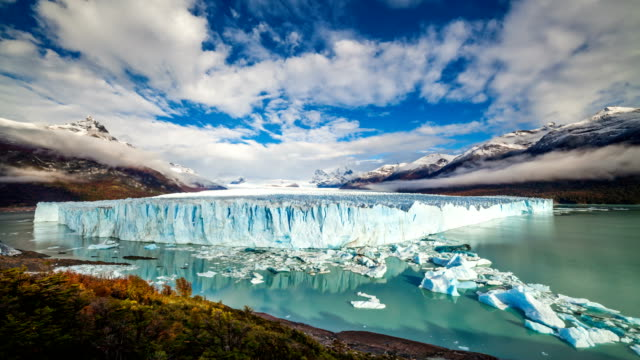 glacier perito moreno national park in autumn. argentina, patagonia - argentina stock videos & royalty-free footage