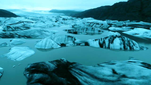 glacier tongue with cracks. aerial view - majestic stock videos & royalty-free footage