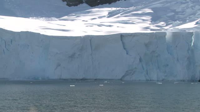 vídeos de stock e filmes b-roll de glacier wall collapses. sub antarctic island - desfigurado