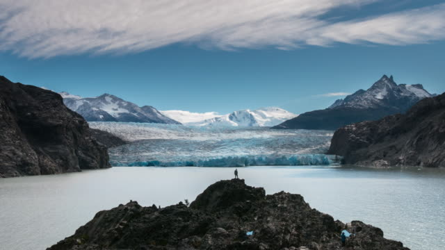Glacier with two backpackers in time lapse motion