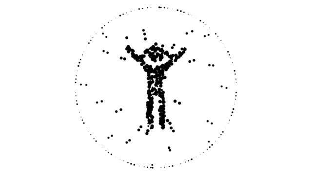 man- glad and shocked, alternating aura, pure black dots (loop) - aura stock videos & royalty-free footage