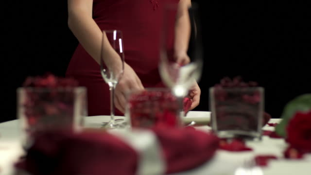 hd dolly: glamorous woman arranging romantic table - tablecloth stock videos & royalty-free footage