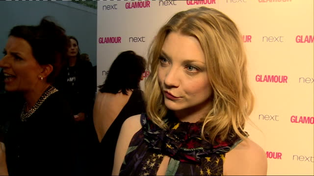 arrivals and interviews; more of dormer on red carpet / natalie dormer interview sot - on filming 'the hunger games' movie / sophie ellis bextor... - strapless stock videos & royalty-free footage