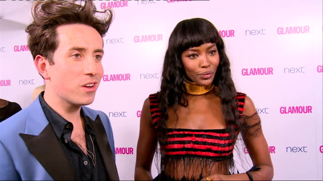 winner's room naomi campbell and nick grimshaw as interviewed by press sot / christine ohuruogu posing backstage after receiving award / campbell and... - naomi campbell stock videos & royalty-free footage
