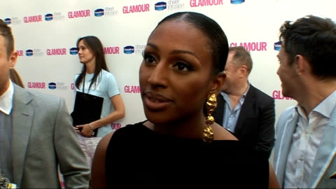 vídeos y material grabado en eventos de stock de glamour women of the year awards 2010: red carpet arrivals; alexandra burke interview sot - on meeting jason derulo at after party - didn't see his... - torso