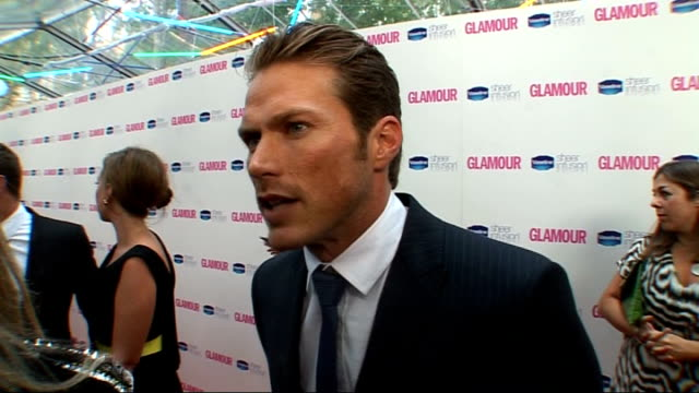 glamour women of the year awards 2010: red carpet arrivals; jason lewis interview sot - on how it feels being the sexiest man for many women - lots... - cameo brooch stock videos & royalty-free footage