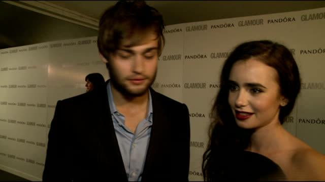 winners' room interviews Lily Collins and Douglas Booth interview SOT on award