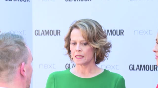 Arrivals and interviews Molly King interview SOT / Sigourney Weaver talking to press on red carpet / Molly King talking to press / More Sigourney...