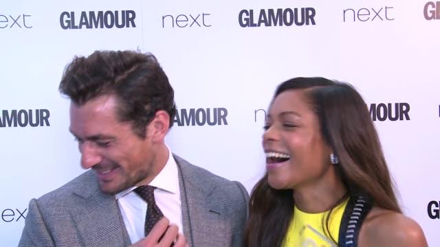 Winners room Actress Naomie Harris and David Gandy as interviewed backstage / Naomie Harris and David Gandy posing and interview SOT / Naomie Harris...