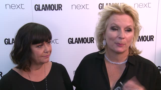 Winners room Jennifer Saunders and Dawn French interview SOT on Glamour event and how far women have come / on loving Christine and The Queens /...
