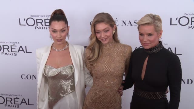 clean glamour's 2017 women of the year on november 13 2017 in new york city - bella hadid stock videos & royalty-free footage