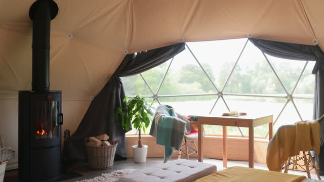 glamping interior - dome stock videos & royalty-free footage