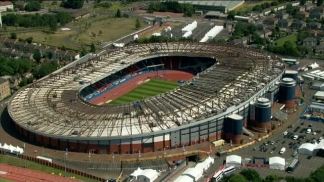 preparations / reactions of local people AIR VIEW / AERIAL Celtic Park Stadium