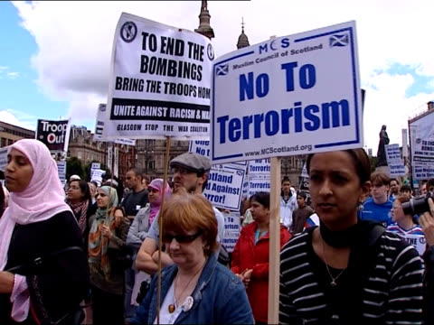 glasgow airport attack: suspect appears in court; scotland: glasgow: muslims and others demonstrating against acts of terrorism - the glasgow airport attack stock videos & royalty-free footage
