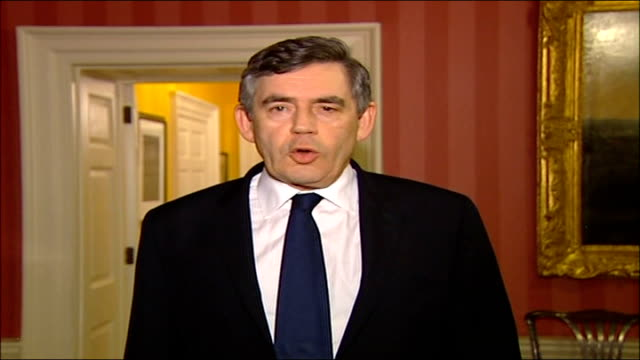 london 10 downing street int gordon brown mp statement to camera sot i want all british people to be vigilant and to support the police and all the... - glasgow international airport stock videos & royalty-free footage