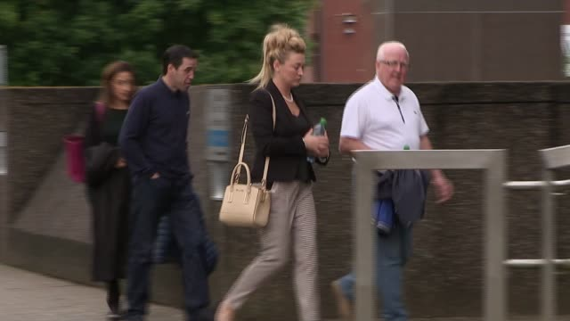 driver accused of concealing medical history harry clarke's daughter karen arriving at court with others - 被告人点の映像素材/bロール