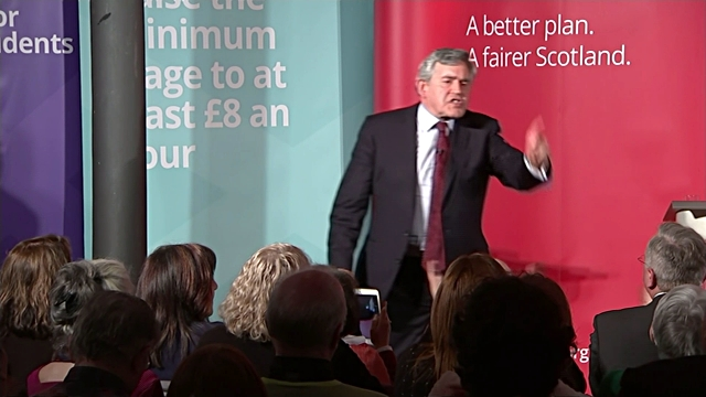 scottish labour leader jim murphy into room of cheering labour activists followed by former labour party leader gordon brown sot gordon brown mp... - social justice concept 個影片檔及 b 捲影像