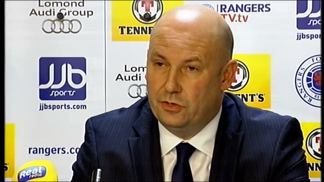 american businessman named as preferred bidder; scotland: glasgow: ibrox: int paul clark press conference sot - mr miller's proposal involves usa of... - plc stock videos & royalty-free footage