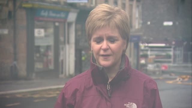 glasgow school of art fire: first minister, nicola sturgeon, visits scene and comments to press; scotland: glasgow: ext nicola sturgeon msp interview... - member of the scottish parliament stock videos & royalty-free footage