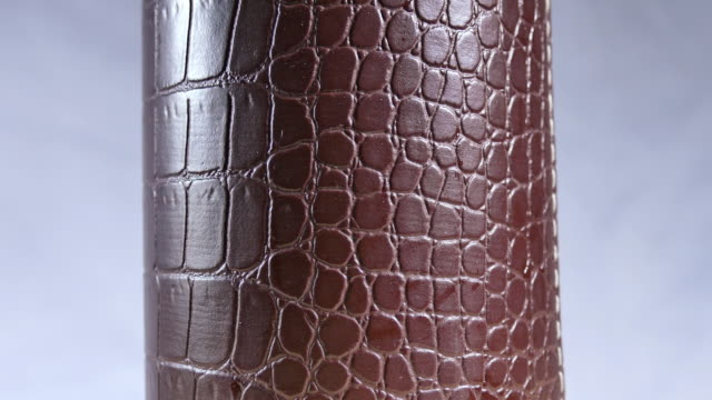 glass cylinder made of crocodile leather. - leather stock videos and b-roll footage