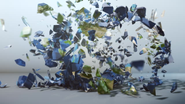 Glass earth globe explosion - slow motion