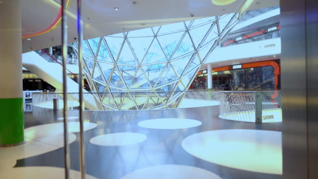 glass elevator in german mall. - elevator point of view stock videos and b-roll footage