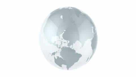 vídeos y material grabado en eventos de stock de animación de globos de vidrio 4k loopable - mapa mundial