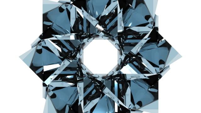 3d glass kaleidoscope design element - kaleidoscope pattern stock videos & royalty-free footage
